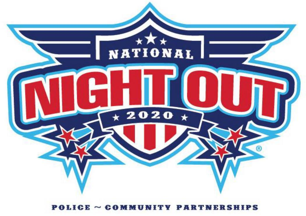 National Night Out 2020 official Logo in red, white and blue.